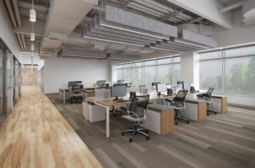 Poly Sonic Thick Grey Ceiling Panels in Open Office Space