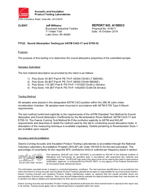 Poly-Sonic Acoustical Testing (ASTM C423A) Result Documentation